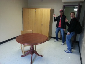 President Andrew Tursic (right) and Membership Coordinator Joseph Wheatley (left) show their cardinal spirit in the new office.