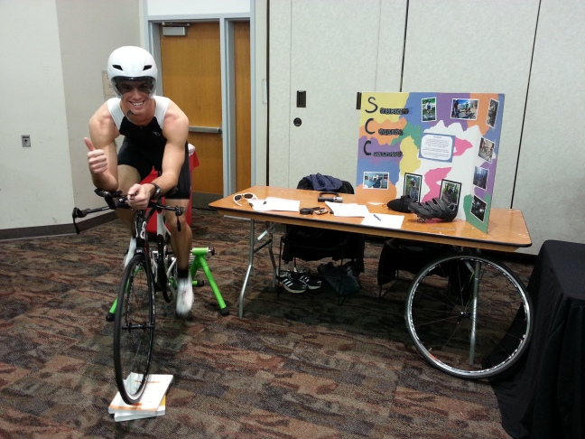 Then-SCC Membership Coordinator Joseph Wheatley- gave a thumbs up at a recruiting fair in January 2014.