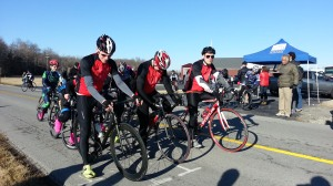 Evan Kuhl, Andrew Tursic, and Erik Seibt wait for the whistle before the TTT hosted by Lindsey Wilson College on Feb. 22.