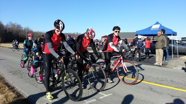 Evan Kuhl, Andrew Tursic, and Erik Seibt wait for the whistle before the TTT hosted by Lindsey Wilson College on Feb. 22, 2014. This was the first time any of the three riders pictured had raced before.