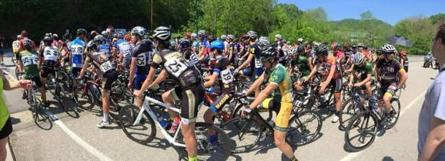 The 155-man D1 field before the start of the 75 mile road race in Asheville, NC.