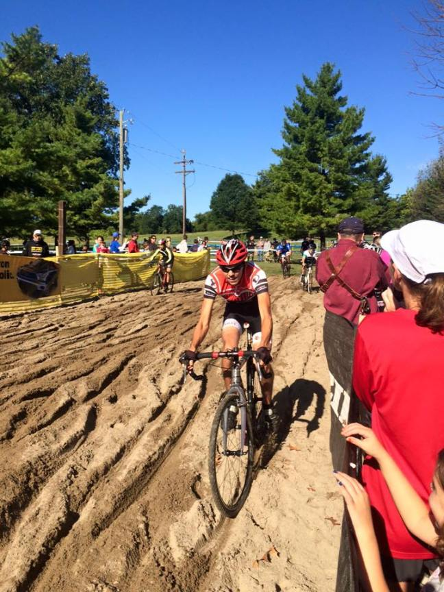 Rikus Van Zyl rides through sand in Harbin Park.
