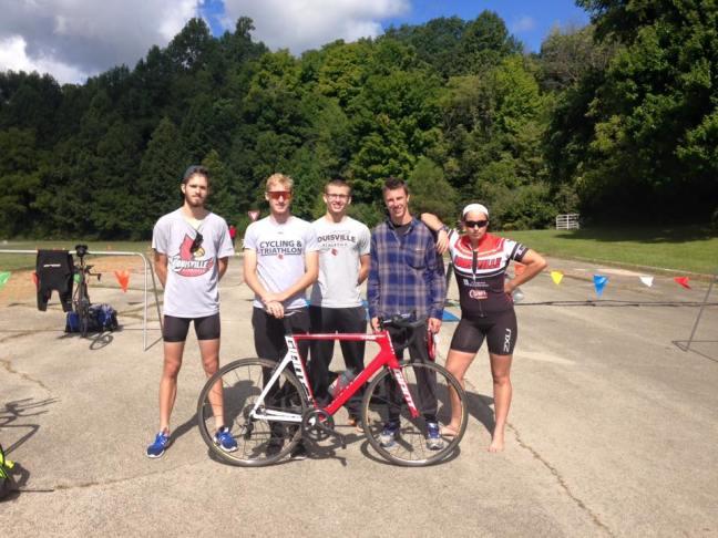 Members of UofL Triathlon after finishing the Dayton Sprint Triathlon.