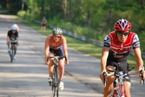 Rikus Van Zyl in the 60k bike leg of Muncie Man Triathlon on Sept. 5, 2015.